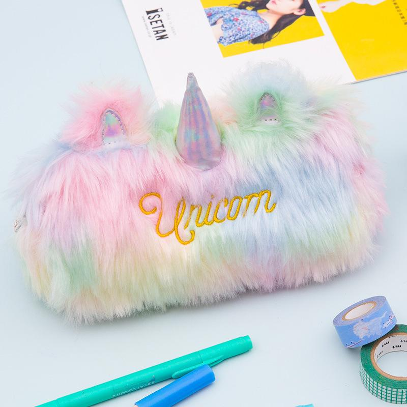 Unicorn Pencil Bag Plushed Pencil Pouch Coin Purse For Kids