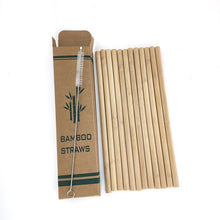 Load image into Gallery viewer, 12 Bamboo Drinking Straws (Reusable + Eco-Friendly) + Clean Brush