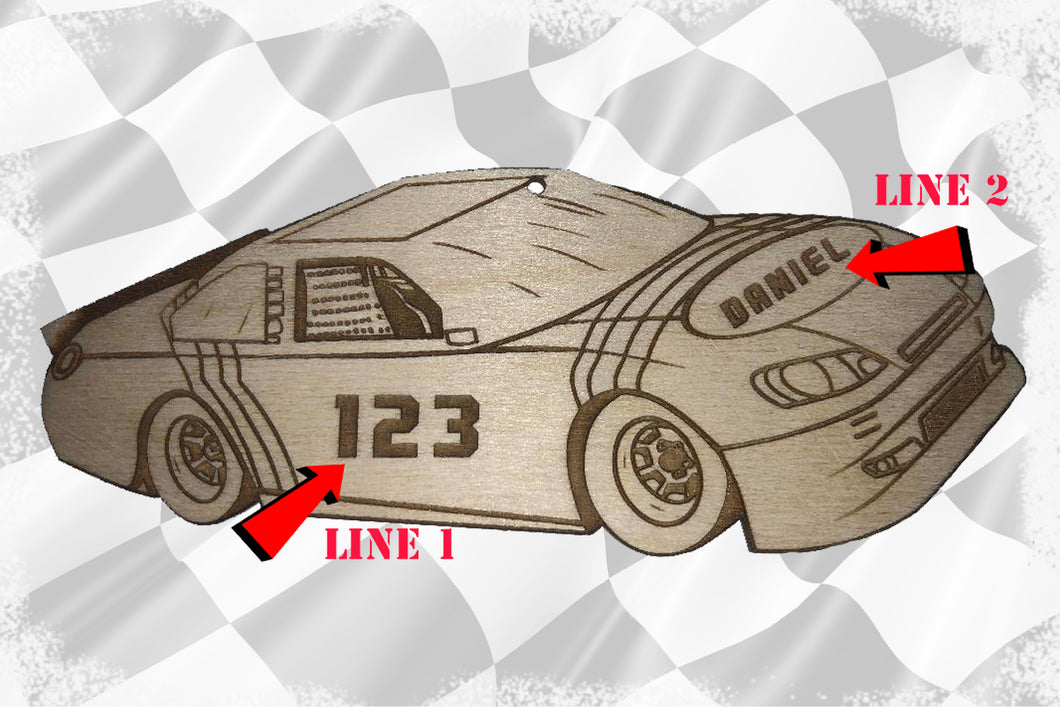 Race Car Ornament with 2 Lines of Custom Text