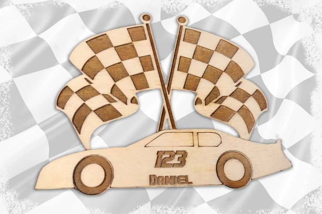CUSTOM Laser Cut Race Car with Checkered Flag Ornament-  with TWO free lines of text