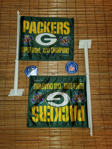 Vintage 1997 Packers Championship Superbowl XXXI Car Window Flag Bundle