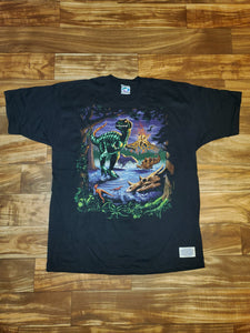 XL - NEW Vintage 1997 Liquid Blue Dinosaur Shirt