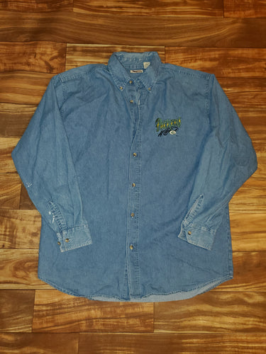 XL - Vintage Packers Denim Button Up Shirt