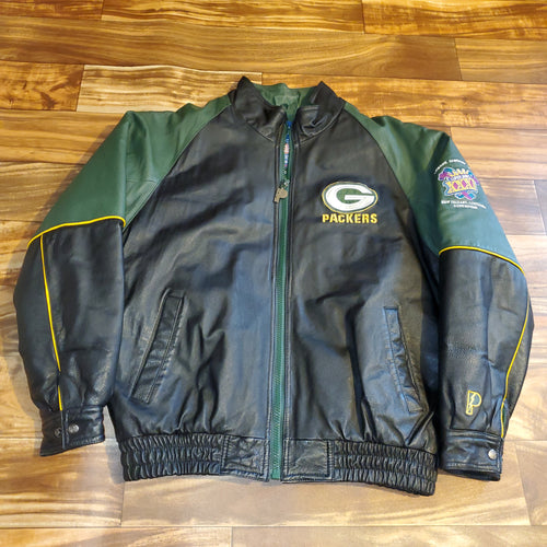 L - Vintage Leather Packer Super Bowl XXXI Jacket