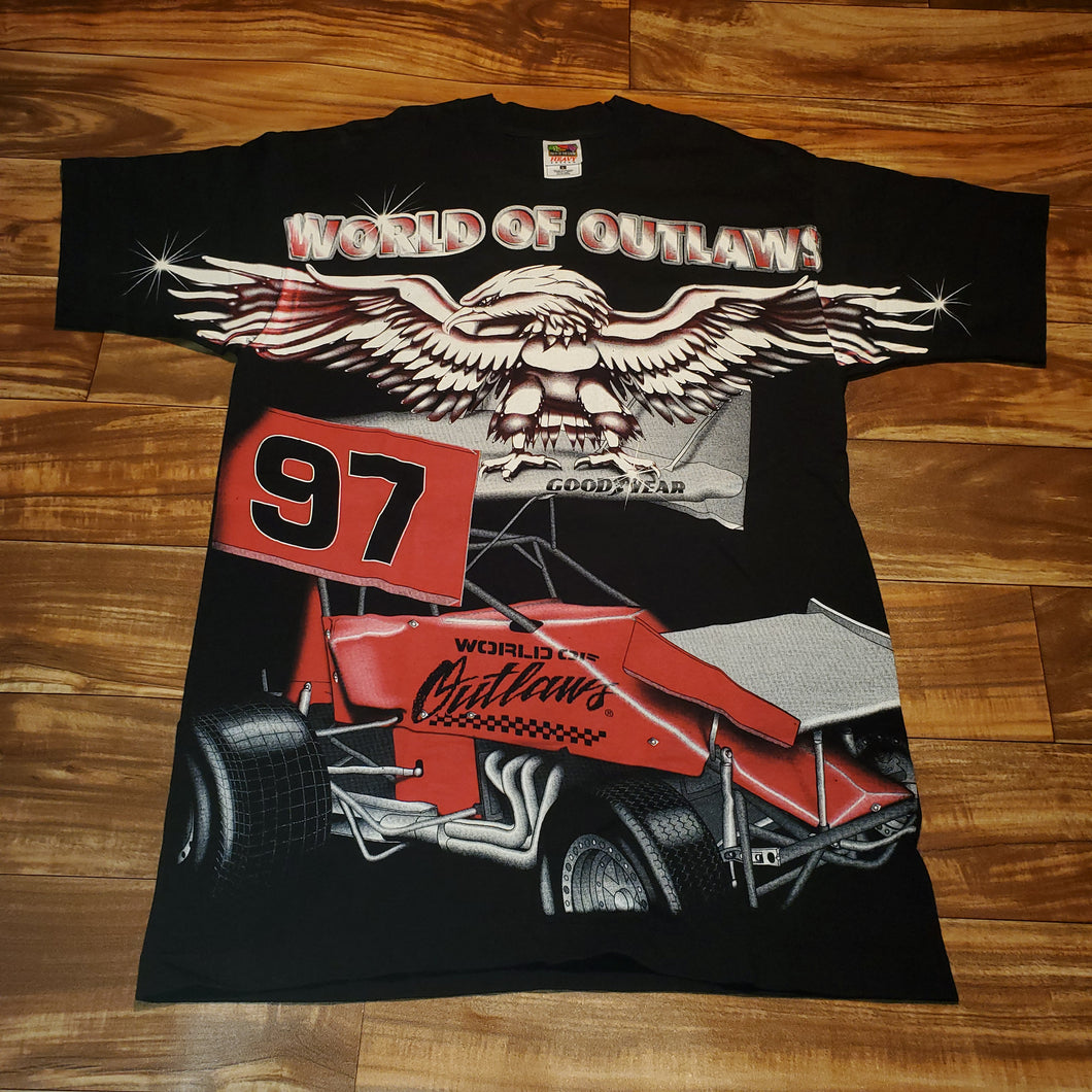 L - Vintage 1995 Racing World Of Outlaws Shirt