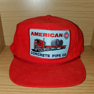 Vintage American Pipe Concrete Co Corduroy Hat