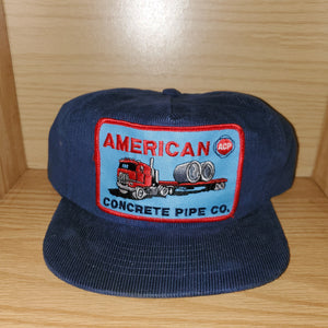 Vintage American Concrete Pipe Co Corduroy Hat