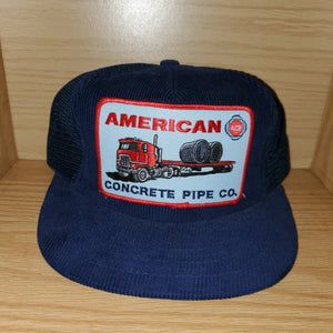 Vintage American Concrete Pipe Co Corduroy Trucker Hat