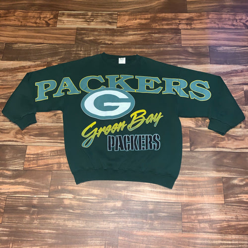 L/XL - Vintage RARE Green Bay Packers Spellout Crewneck