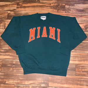 L/XL - Vintage Heavy Duty Miami Hurricanes Crewneck