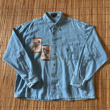 Load image into Gallery viewer, XL - Lion Tiger Leopard Denim Jean Button Up Shirt