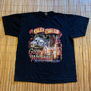 L - Old Bikes Good Whiskey Biker Shirt