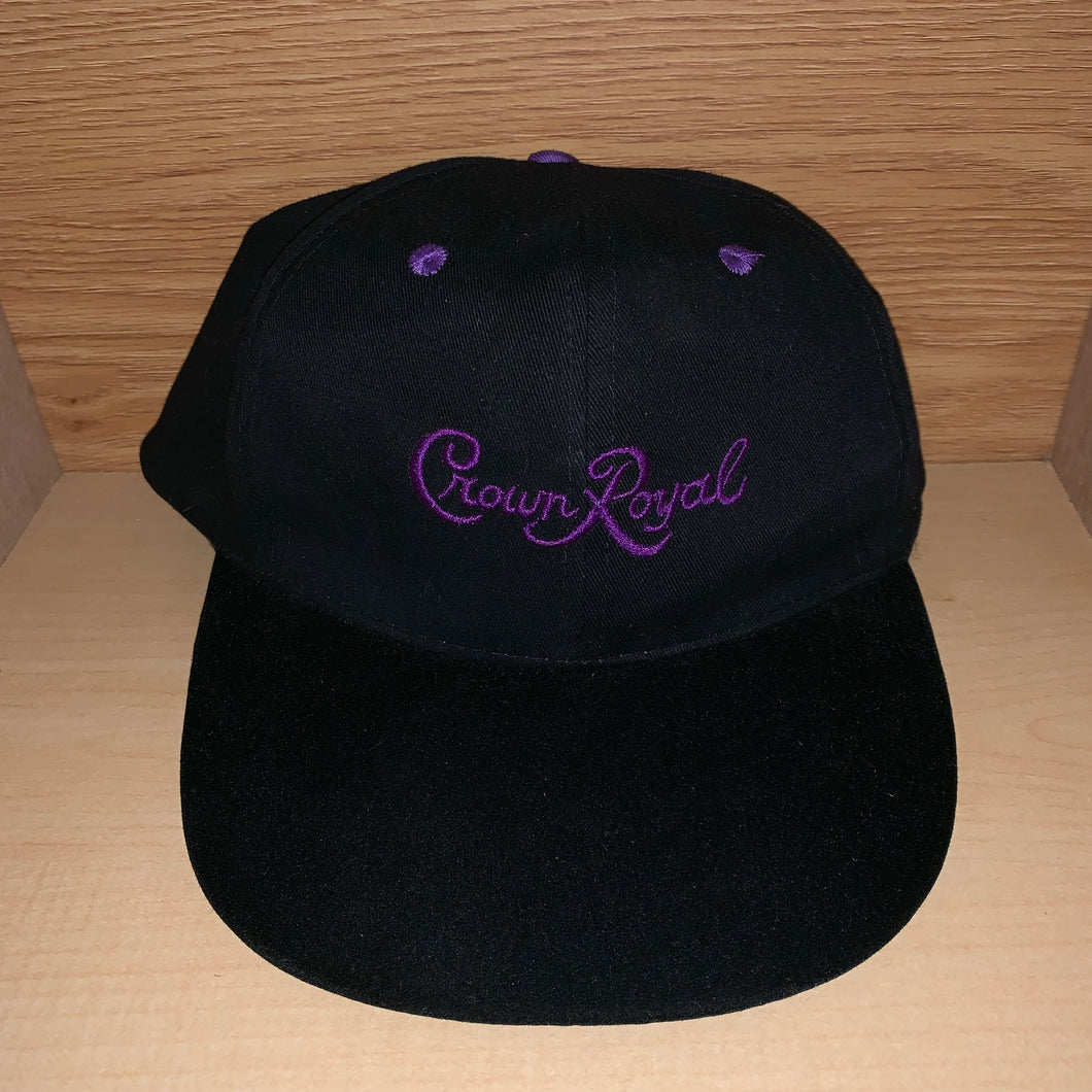 Vintage Crown Royal Suede Brimmed Strapback Hat