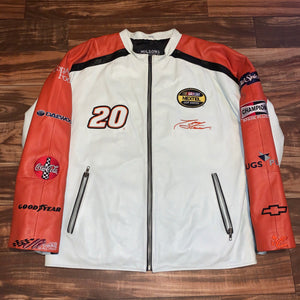 L/XL - Tony Stewart Home Depot Quilted Leather Nascar Jacket
