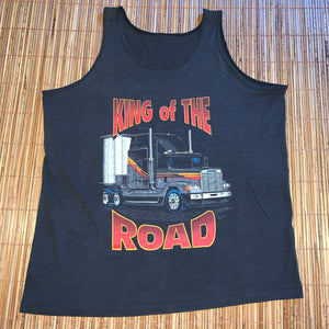 L - Vintage 1992 King Of The Road Semi Trucker Shirt