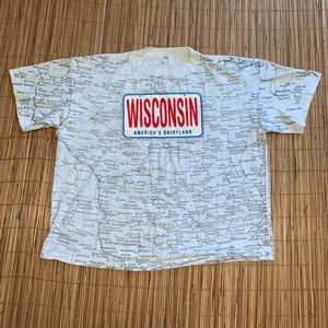 2X/3X - Vintage Wisconsin Map Shirt