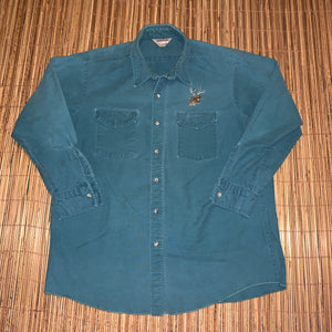 XXL - Vintage Buck Embroidered Button Up Shirt
