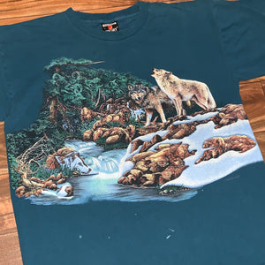 L - Vintage Hidden Wolves Shirt
