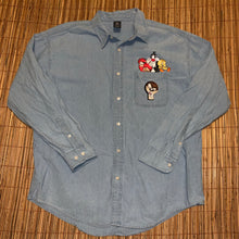 Load image into Gallery viewer, XL - Vintage 90s Looney Tunes Denim Jean Button Up Shirt