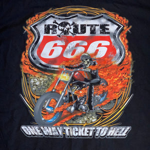 XL - Route 666 Ticket To Hell Skull Biker Shirt