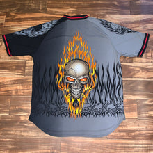 Load image into Gallery viewer, XL - Jnco Flaming Skull Mesh All Over Print Shirt