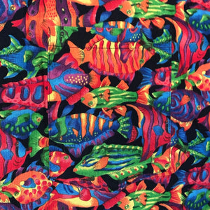 XL - Vintage Fish All Over Print Exotic Button Up Shirt