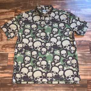XL - Skull All Over Print Polo Shirt