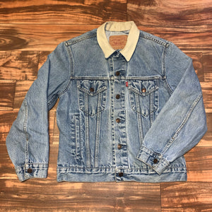S - Vintage Levi's Denim Leather Collared Jacket