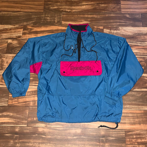 M/L - Vintage Reebok Hooded Front Pocket Windbreaker