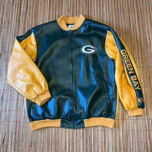 XL - Green Bay Packers Leather Like Jacket