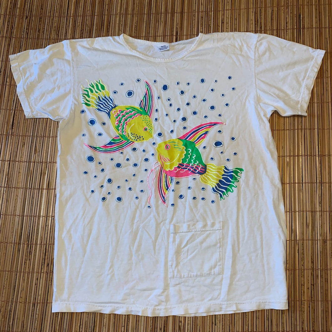 XL(See Measurements) - Vintage Fish Aqua Colorful Graphic Shirt