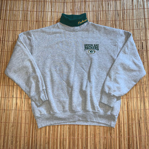 M - Vintage Green Bay Packers Mock Neck Sweater