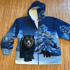 XL - Grizzly Bear Sherpa Lined All Over Print Hoodie