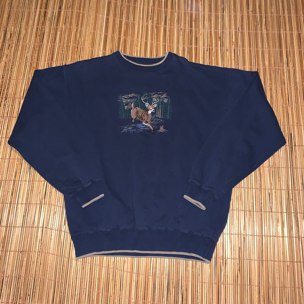 L - Deer Buck Embroidered Sweater