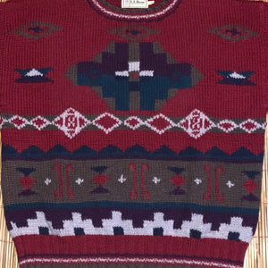 L - Vintage LL Bean 100% Wool Aztec Sweater