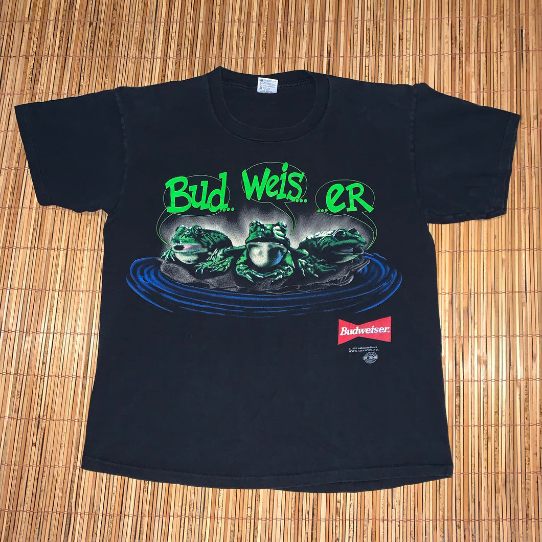 XL/L(Fits L-See Measurements) - Vintage 1995 Budweiser Frogs 2-Sided Shirt