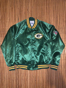 L - Packers Chalk Line Satin Jacket