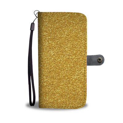 Gold tone phone wallet