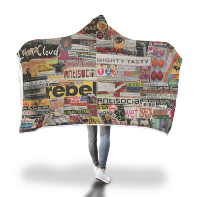 Cozy hooded blanket word collage