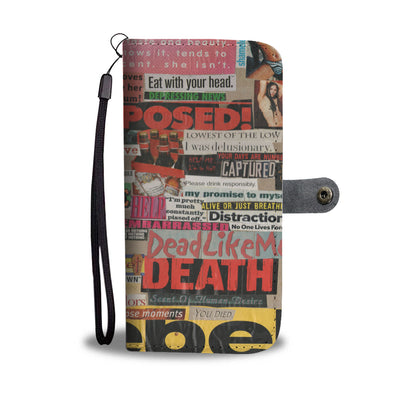 Risque Phone Wallet with Magazine Word Cutout Collage Design 1
