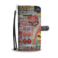Risque Phone Wallet with Magazine Word Cutout Collage Design 2