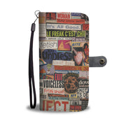 Risque Phone Wallet with Magazine Word Cutout Collage Design 3