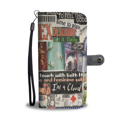 Risque Phone Wallet with Magazine Word Cutout Collage Design 4