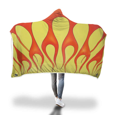 classic car flames hooded blanket