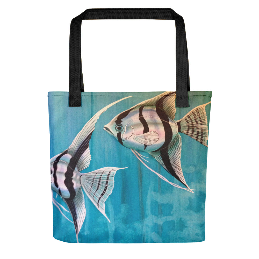 Freshwater Fish Tropical Fish Angelfish with blue background Tote bag