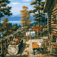 HQ Digital Oil Paintings coloring By Numbers The jungle cabin rest room tables Canvas Abstract Handpainted Home Wall Decoration