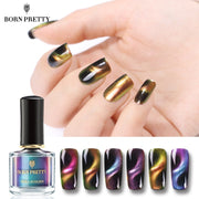 BORN PRETTY Chameleon 3D Cat Eyes Nail Polish Magnetic Aurora Series 6ml Varnish Magnet Nail Art Lacquer Black Base Needed