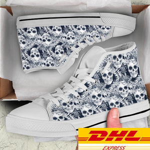Hibiscus Palm Skull Women's High Top Shoes