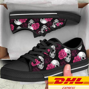 Pink Floral Skulls Women's Low Tops