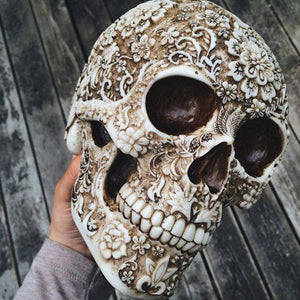 White and Light Brown Colored Floral Human Skull Figurine